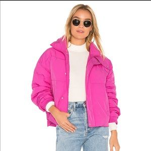Pink Free People Slouchy Cropped Puffer Coat